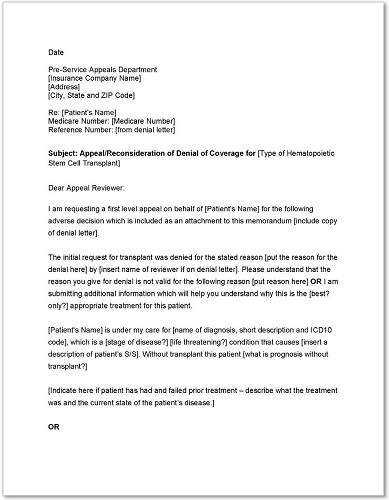 medicare advantage appeal letter templates - Medical Appeal Letters